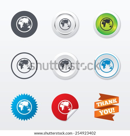 Globe sign icon. World map geography symbol. Circle concept buttons. Metal edging. Star and label sticker. Vector - stock vector