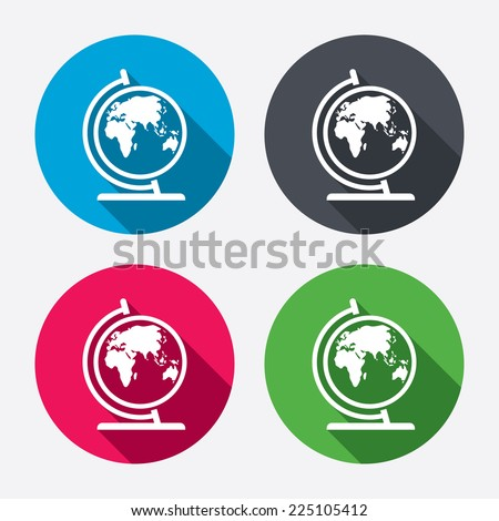 Globe sign icon. World map geography symbol. Globe on stand for studying. Circle buttons with long shadow. 4 icons set. Vector - stock vector