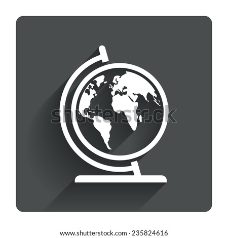 Globe sign icon. World map geography symbol. Globe on stand for studying. Gray flat square button with shadow. Modern UI website navigation. Vector - stock vector