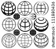 Globe signs. Vector globe sign set. - stock photo