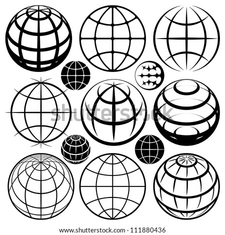 Globe signs. Vector globe sign set. - stock vector