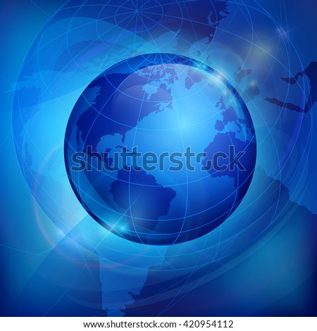 Globe sphere earth on blue vector illustration. Icon for business, infographic element. Sciense background, education sign - stock vector