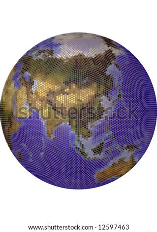 Globe. Stylized 3D vector map, built from colored dots. Centered on Asia, colored according to vegetation. Background allows tonal adjustments. - stock vector