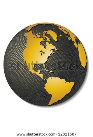 Globe. Stylized 3D vector map, centered on America.