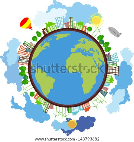 Globe surrounded by eco-friendly houses windmills trees in the sky flying airships and balloons - stock vector