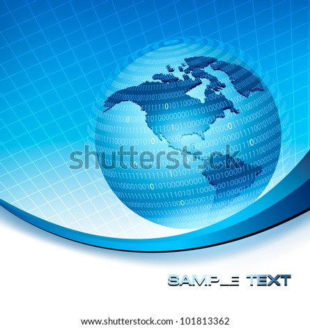 Globe trapped in a sphere made of binary code. Concept of global programming. Vector. - stock vector