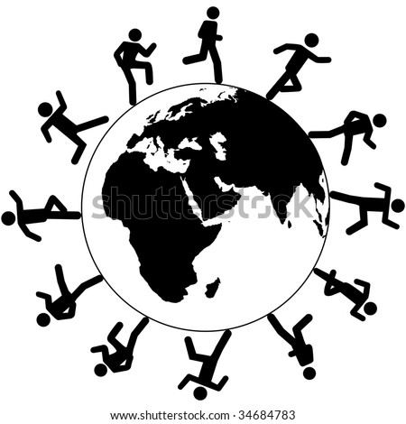 Globe trotting international people on global business run around the world on business, travel or other pursuit. - stock vector