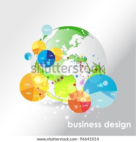 globe vector background with pie charts - stock vector