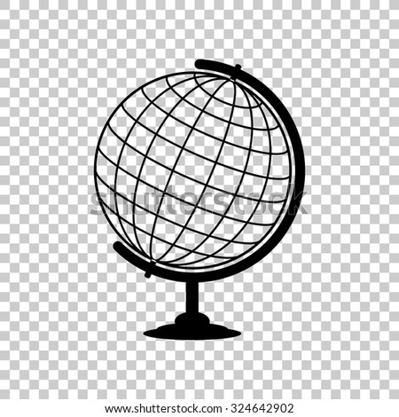 globe vector icon - black illustration