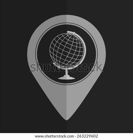 Globe vector icon - map pointer. Flat design - stock vector