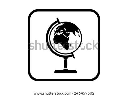 Globe vector icon on white background - stock vector