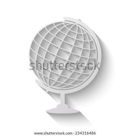globe vector icon - paper illustration