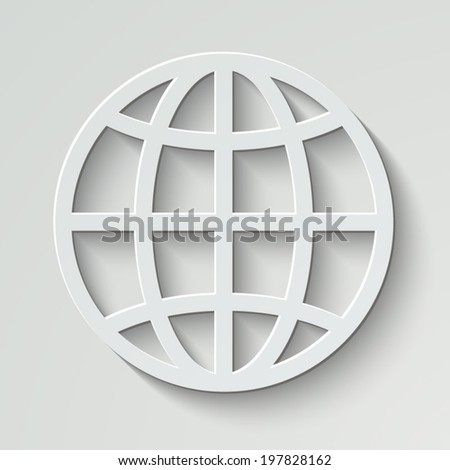 Globe vector icon - paper illustration with shadow on light background - stock vector
