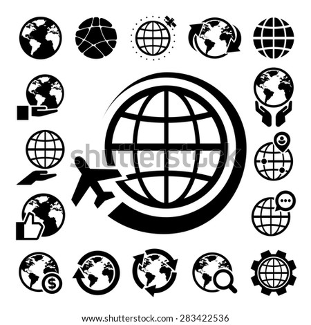 Globe vector icons set. Elements of this image furnished by NASA - stock vector