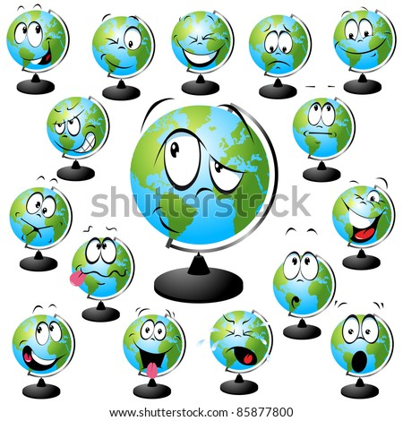 globe vector illustration with many facial expressions isolated on white background - stock vector