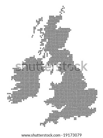 Globe Vector Map of United Kingdom and Ireland. - stock vector