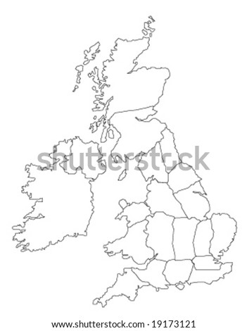 Globe Vector Map of United Kingdom and Ireland. - stock vector