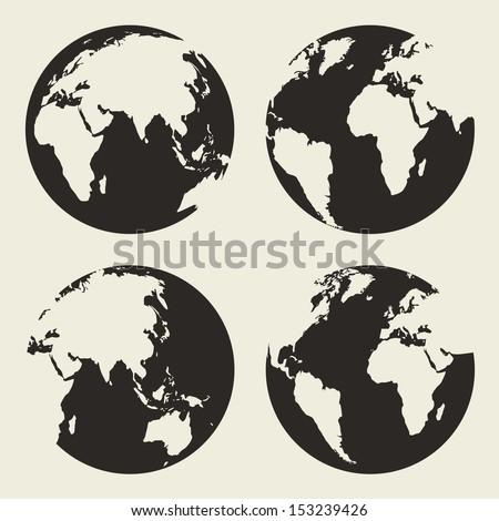 Globe vector silhouette - stock vector