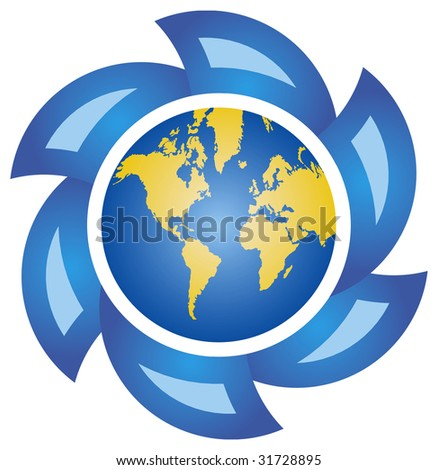 Globe with abstract blue arrows, icon for  environment protection