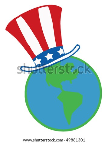 Globe with American Patriotic Hat - stock vector