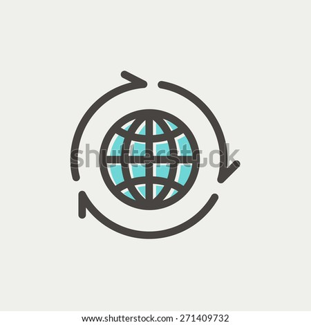 Globe with arrow around icon thin line for web and mobile, modern minimalistic flat design. Vector icon with dark grey outline and offset colour on light grey background. - stock vector