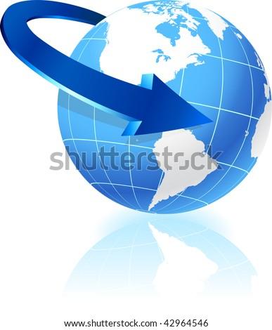 Globe with arrow Original Vector Illustrations - stock vector
