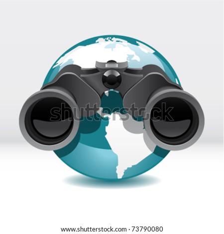 globe with binocular - stock vector