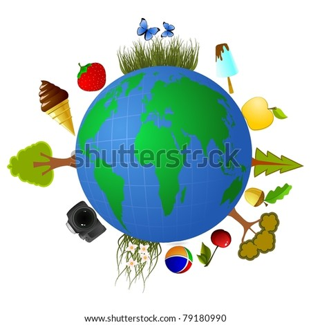 Globe with elements of summer food. vector - stock vector
