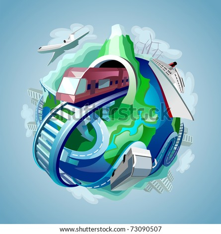 globe with four types of transport for travelling moving around it - stock vector