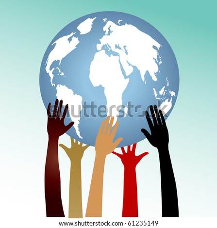 Globe with hands - stock vector