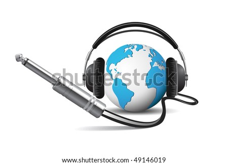 Globe with headphones - stock vector