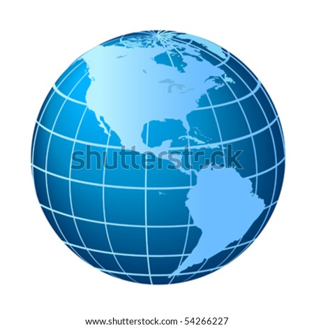 Globe with North and South America - stock vector