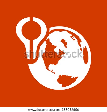 Globe with pin - stock vector