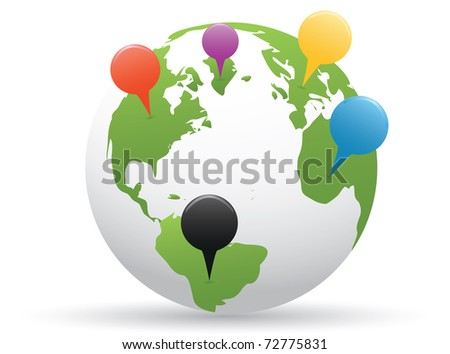 Globe with pins - stock vector