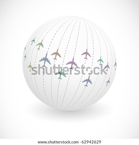 Globe with plane signs. Vector illustration. - stock vector