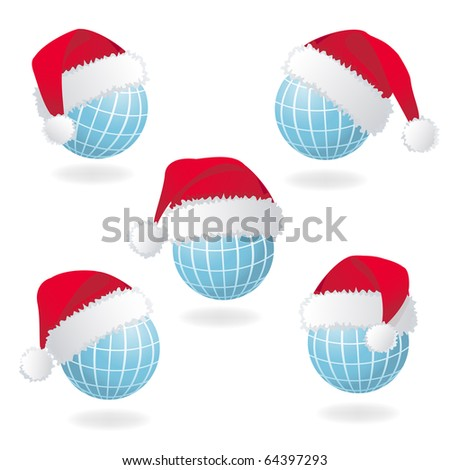 Globe with Santa's red hat. Vector illustration - stock vector