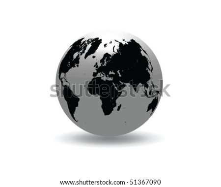 globe with shadow-vector