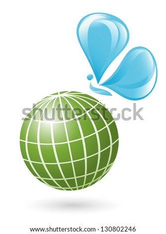 Globe with the water-butterfly - stock vector
