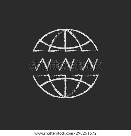 Globe with website design hand drawn in chalk on a blackboard vector white icon on a black background - stock vector