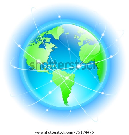 Globe with wired orbits of satellite. Illustration on white - stock vector