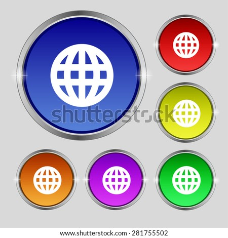 Globe, World map geography icon sign. Round symbol on bright colourful buttons. Vector illustration - stock vector