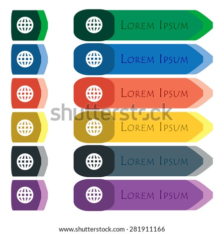 Globe, World map geography  icon sign. Set of colorful, bright long buttons with additional small modules. Flat design. Vector - stock vector