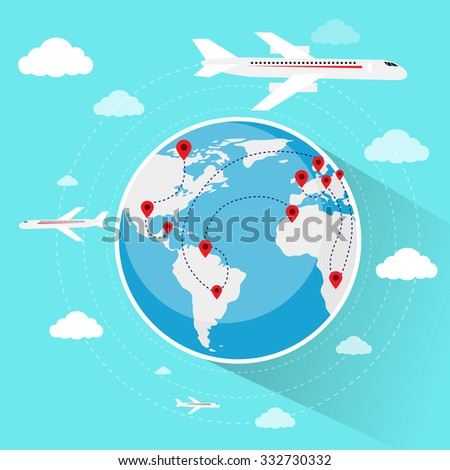 Globe World Map Travel Vacation Trip Booking Air Plane Flight Flat Vector Illustration - stock vector