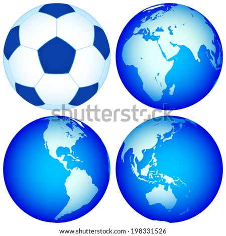 Globes and soccer ball for various design. Elements of this image furnished by NASA.   - stock vector