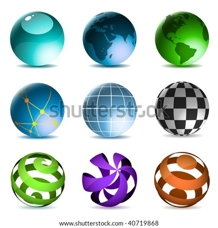 Globes and spheres icons set isolated on white background. - stock vector