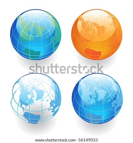Globes in various colors. Vector illustration.