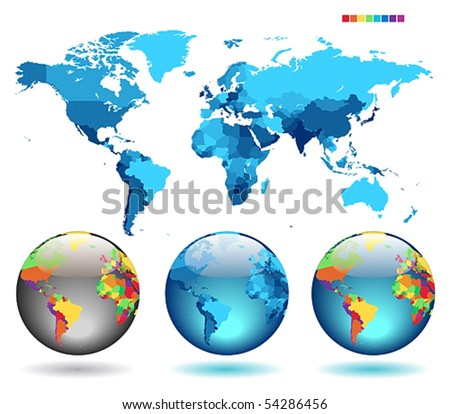 Globes on blue detailed map. Vector illustration. - stock vector
