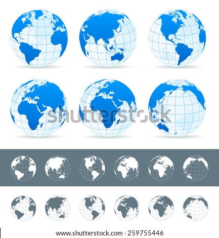 Globes set - illustration Vector set of different globe views. Made in blue, gray and white variants. - stock vector
