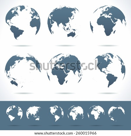 Globes set - illustration Vector set of different globe views No contours.  - stock vector