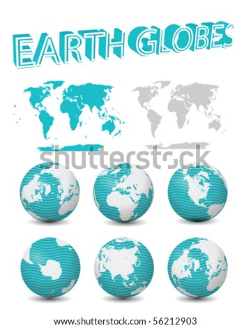 Globes with maps vector collection isolated on white - stock vector
